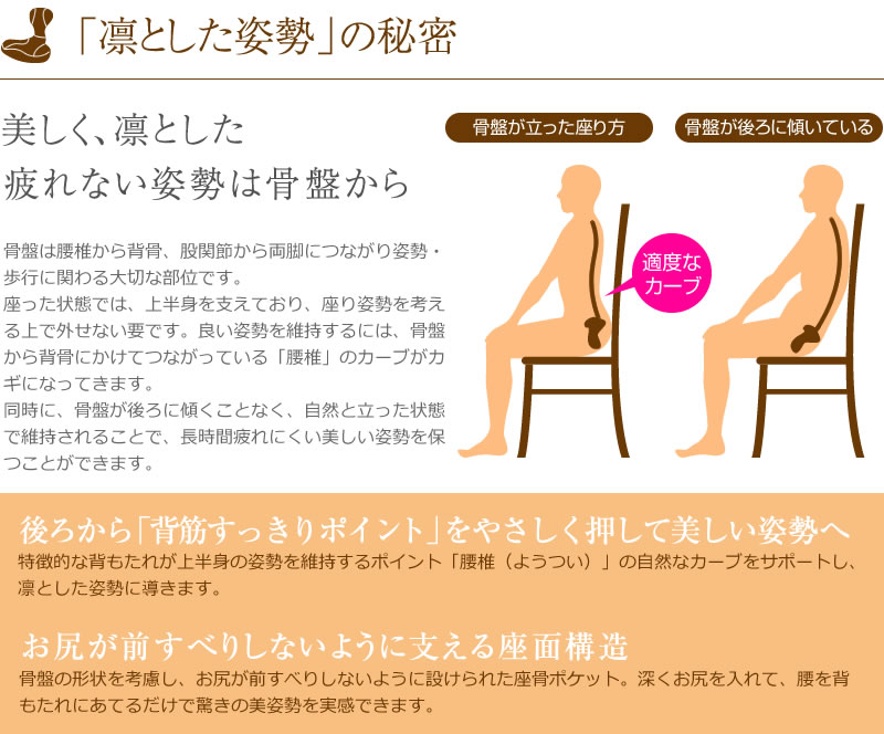 ついついお尻が滑った座り方になってしまう方!凛とするポイントをピンポイントで支える座椅子です。