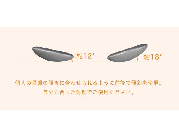 個人の骨盤の傾きに合わせられるように前後で傾斜を変更。自分にあった角度でご使用ください。