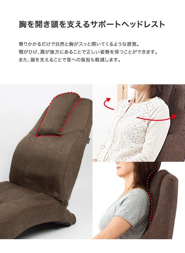 胸を開き頭を支えるサポートヘッドレスト